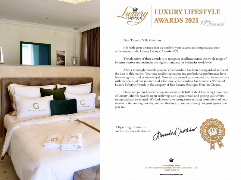 Villa Giardino Bol wins Luxury Lifestyle Awards 2021!